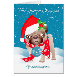 Granddaughter, Pug Dog With Cute Santa Hat And Orn Card