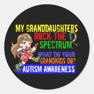 Granddaughters Rock The Spectrum Autism Round Sticker