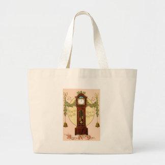 Grandfather Clock Holly Mistletoe Bell Jumbo Tote Bag