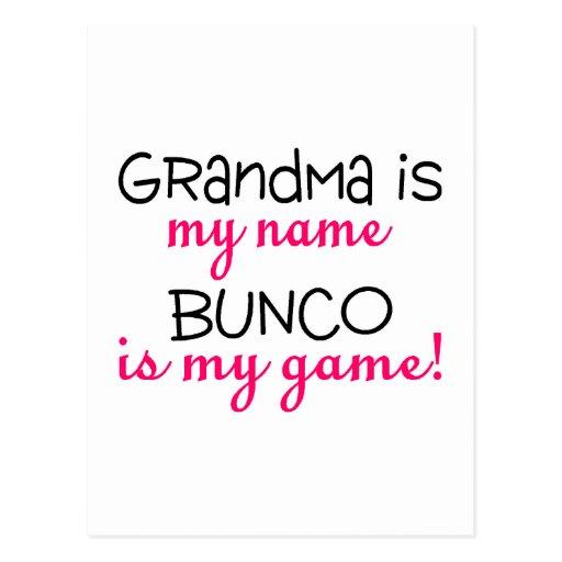 Grandma Is My Name Bunco Is My Game Post Card