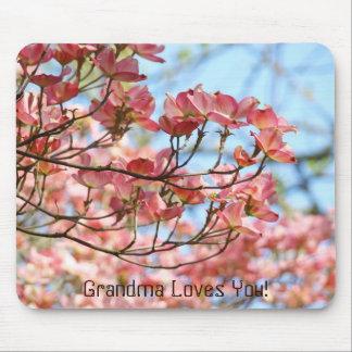 Grandma Loves You mousepad Pink Flowers Floral
