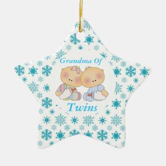 Grandma Of Twins Cute Baby Keepsake Ornament Gift
