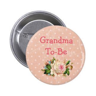 """Grandma to Be"" Baby Shower Button Coral with Rose"