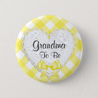 Grandma to be Yellow Baby Shower Button