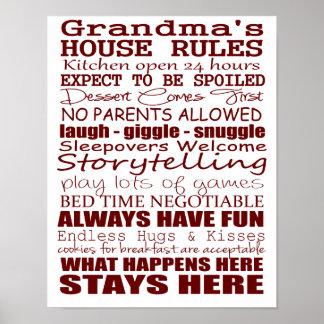 Grandma's House Rules Poster 11x14