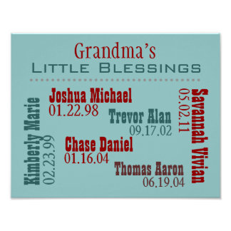 Grandmas Little Blessings Posters with Names