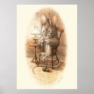 Grandmother Dormouse Knitting Poster