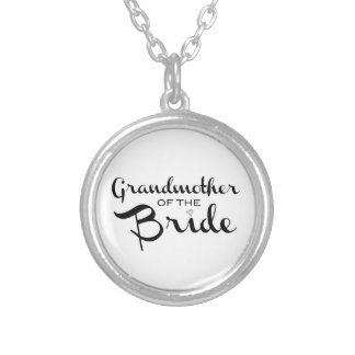 Grandmother of Bride Black on White Personalized Necklace