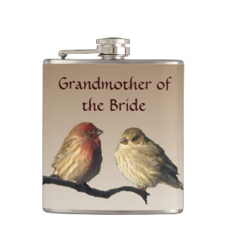 Grandmother of the Bride Finches Wedding Flask