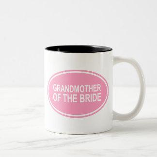 Grandmother of the Bride Wedding Oval Pink Two-Tone Coffee Mug