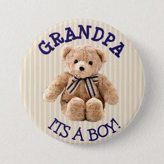 Grandpa, Its a Boy Teddy Bear Baby Shower Button