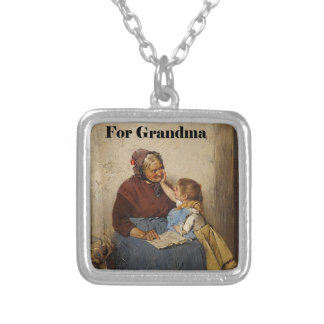 Grandparent's Day Grandma Granddaughter Painting Silver Plated Necklace