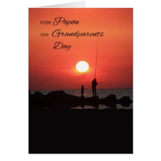 Grandparents Day for Papou, Fishing at Sunset Card
