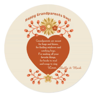 Grandparents' Love Grandparents Day Card 13 Cm X 13 Cm Square Invitation Card