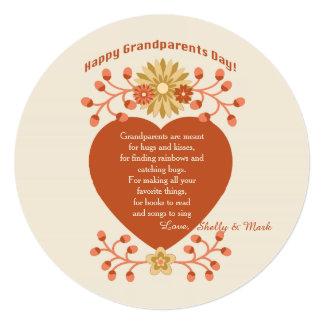 """Grandparents' Love Grandparents Day Card 5.25"""" Square Invitation Card"""