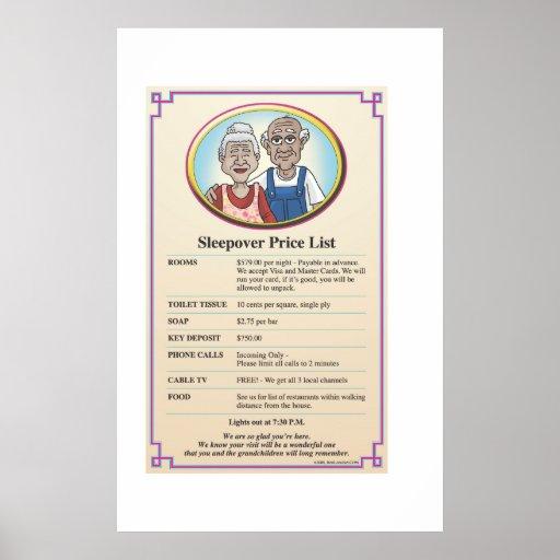 Grandparents Visit Price List Poster