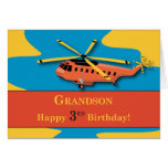 Grandson, 3rd Birthday with Helicopter Greeting Card