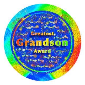 Grandson Award Birthday Fireworks 13 Cm X 13 Cm Square Invitation Card
