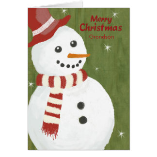 Grandson Cute Snowman in Red Hat and Scarf Card