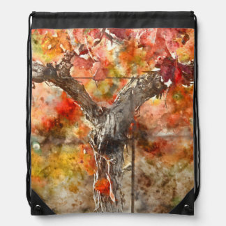Grape Vines in the Fal Drawstring Bag