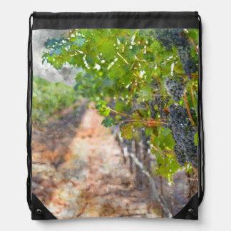 Grapes on the Vine in Napa Valley California Drawstring Bag