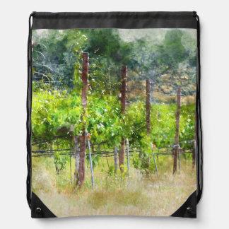 Grapes Vines in Spring in Napa Valley California Drawstring Bag