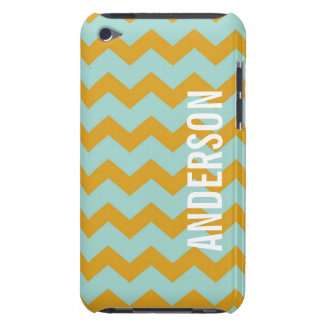 Graphic chevron pattern yellow teal your name barely there iPod cases