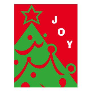 Graphic Christmas Tree Joy Postcard