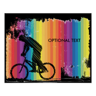 Graphic Ink Sketch of Cyclist on Rainbow Stripes Poster