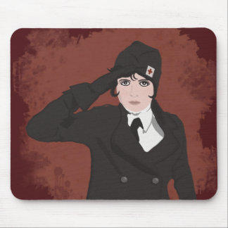 Graphic Portrait of WWII Woman Mouse Pad