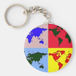 graphic world map basic round button key ring