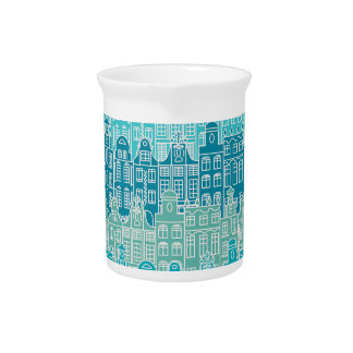 Graphical blue buildings in European style Pitchers