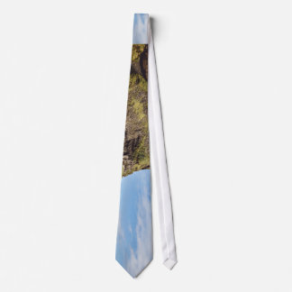 Grass Themed, Few People Standing At A Rocky Beach Tie