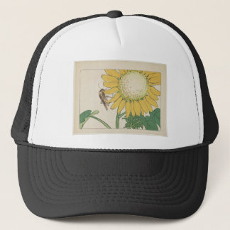 Grasshopper and sunflower by Shibata Zeshin Trucker Hat