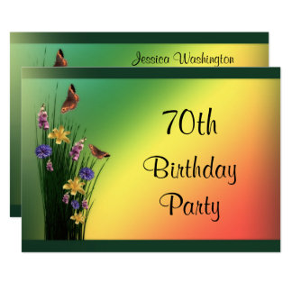 Grassy Bouquet And Butterflies 70th Birthday 13 Cm X 18 Cm Invitation Card