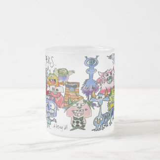 Gratitude Funny Cartoon Creatures Frosted Glass Coffee Mug