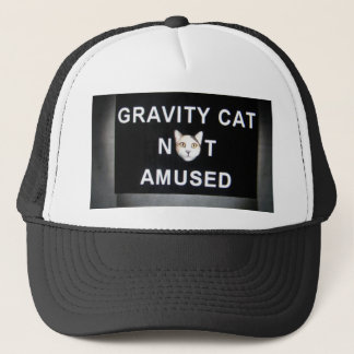 gravity cat not amused trucker hat