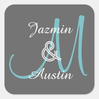 GRAY  and AQUA Monogram Wedding Sticker A2