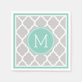 Gray and Aqua Quatrefoil Wedding Monogram Paper Napkin