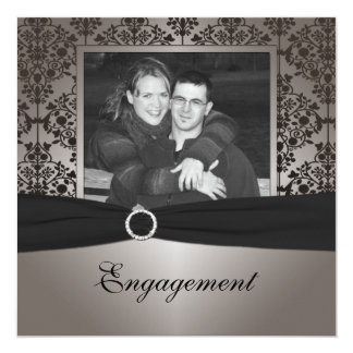 Gray and Black Damask Engagement Announcement