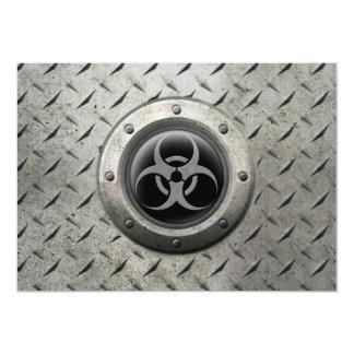 Gray and Black Industrial Biohazard Steel Effect 13 Cm X 18 Cm Invitation Card