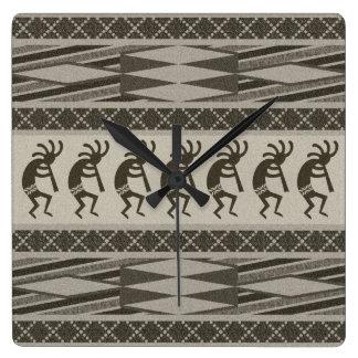 Gray And Black Kokopelli Aztec Design Square Wall Clock