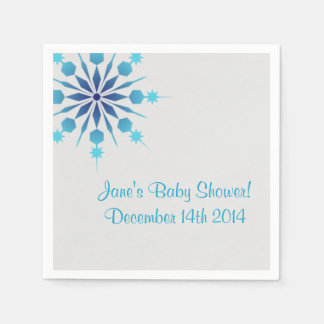 Gray and Blue Snowflake Napkins Disposable Serviettes