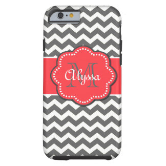 Gray and Coral Chevron Phone Case Tough iPhone 6 Case