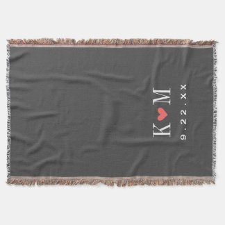 Gray and Coral Modern Wedding Monogram Throw Blanket