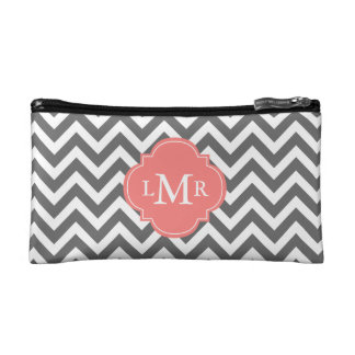 Gray and Coral Zigzags Monogram Makeup Bag
