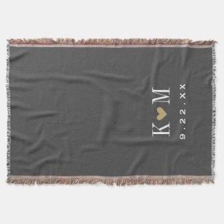 Gray and Gold Modern Wedding Monogram Throw Blanket