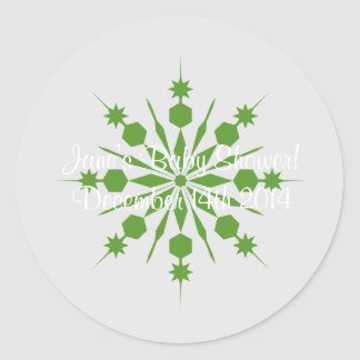 Gray and Green Snowflake Stickers