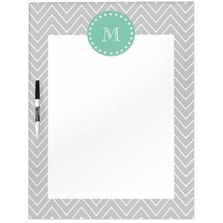 Gray and Mint Green Modern Chevron Monogram Dry-Erase Boards