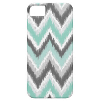 Gray and Mint Ikat Chevron Barely There iPhone 5 Case